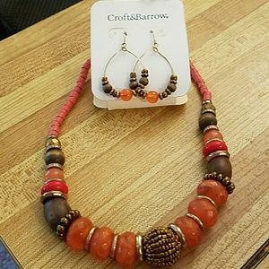 Orange and brown bead necklace and earrings